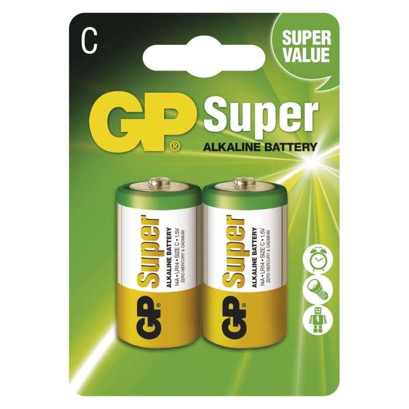Baterie R14 1,5V GP Super Alkalická C (malý monočlánek) 1ks