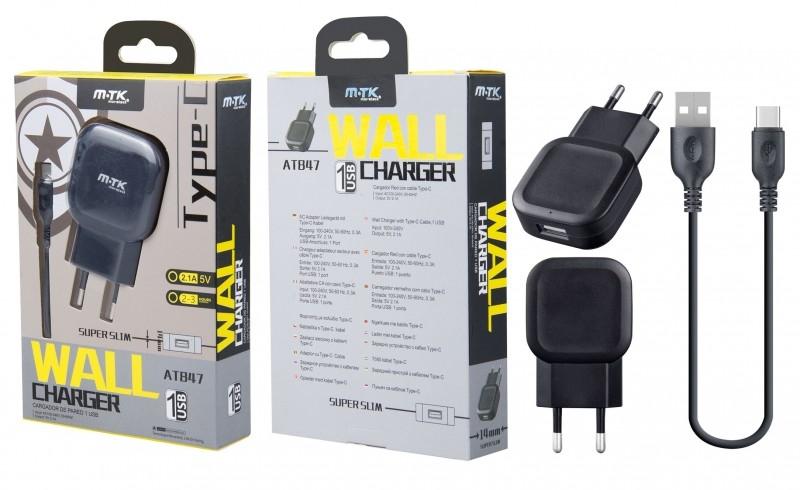 Nabíječka síťová PLUS AT847 USB 2,1A s USB-C datovým kabelem, černá