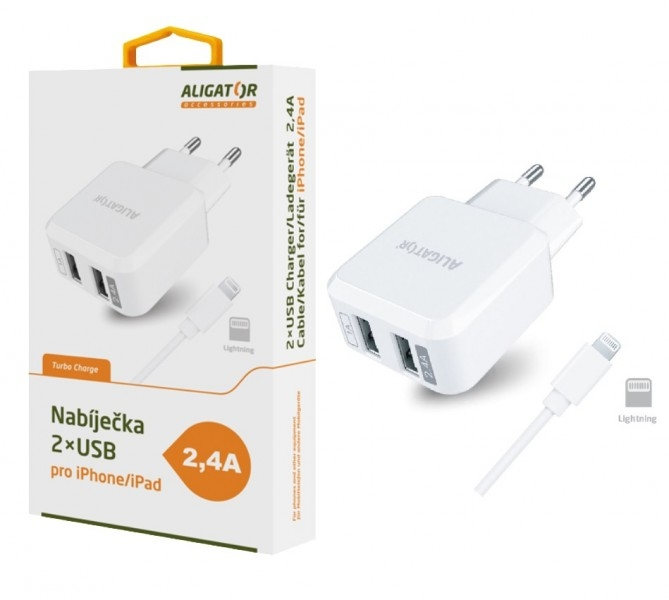 Nabíječka síťová ALIGATOR 2,4A Turbo 2xUSB ,iPhone 5/6/7/8 kabel bílý