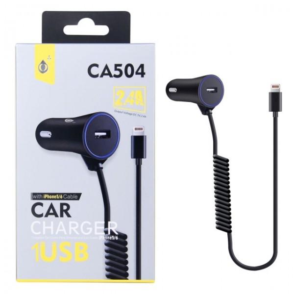 Nabíječka do auta PLUS CA504 2,4A Pro iPhone lightning, černá