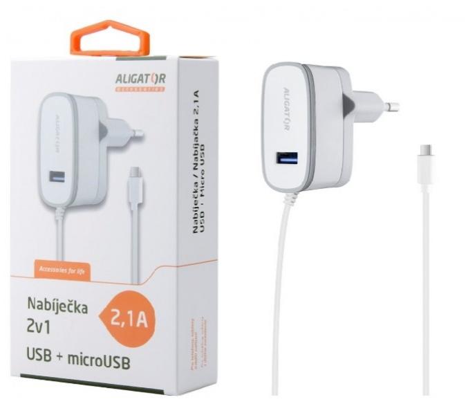 Nabíječka síťová ALIGATOR 5V/2,1A MicroUSB a 1x USB výstup, bílá