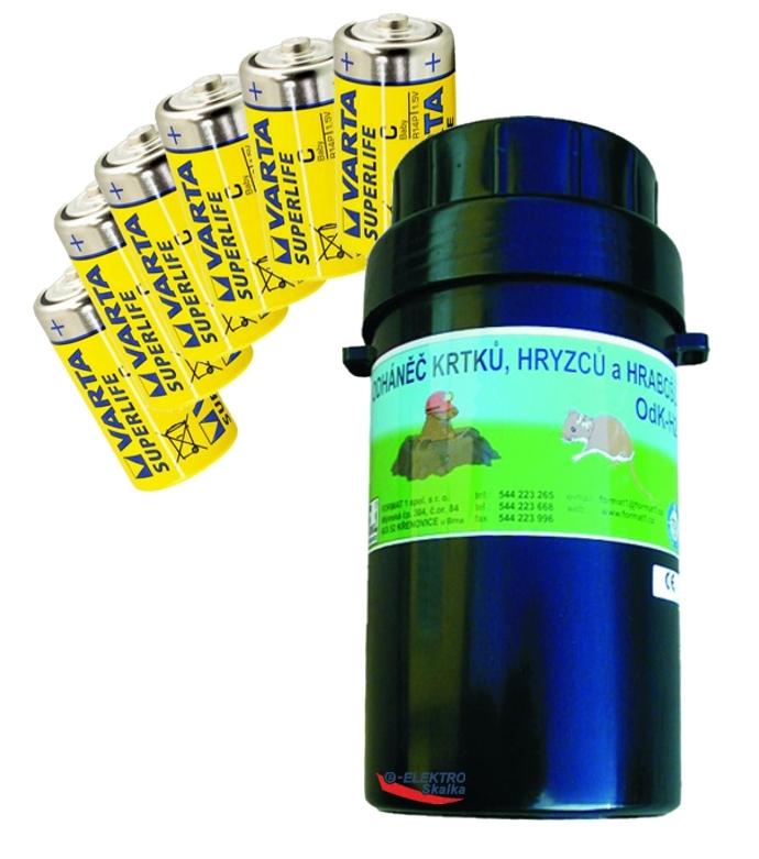 Odháněč krtků Format1 OdK-H2 na krtky a hraboše a sada baterií