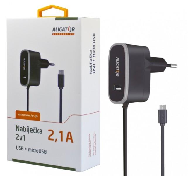Nabíječka síťová ALIGATOR 5V/2,1A MicroUSB a 1x USB výstup, černá
