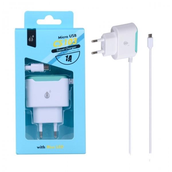 Nabíječka síťová PLUS CS103 5V/1A MicroUSB bílá