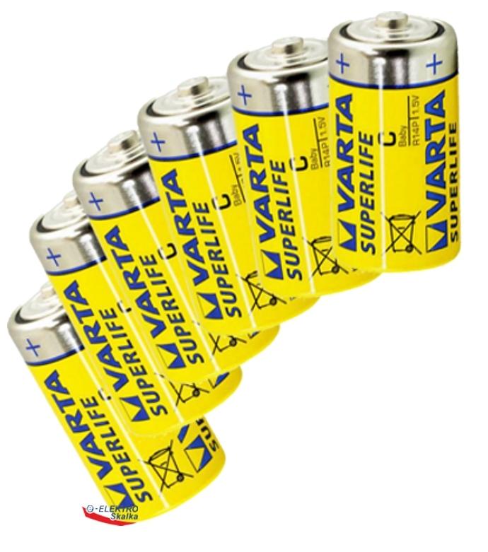 Sada baterií LR14 VARTA 1,5V SuperLife, malé monočlánky, 6ks