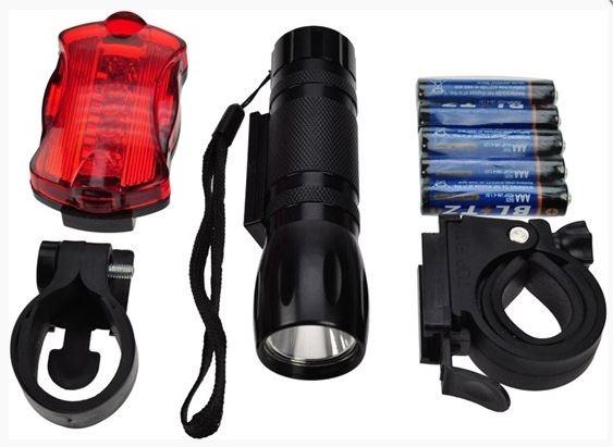 Sada cyklo světel LED 3W + 5x LED, 2x držák na kolo