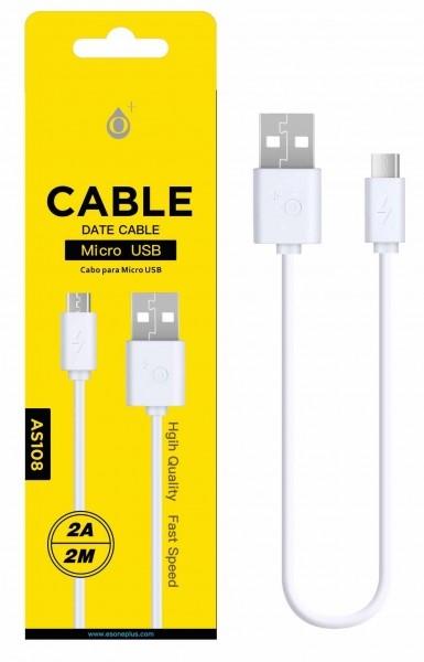Nabíjecí kabel PLUS AS108 MicroUSB 2A 2m bílý