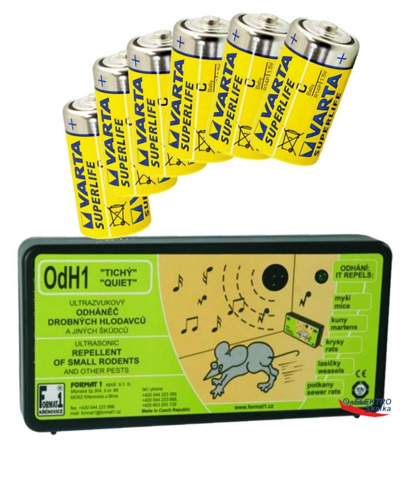 Plašič hlodavců Format1 OdH1T Tichý s ultrazvukem a sada baterií