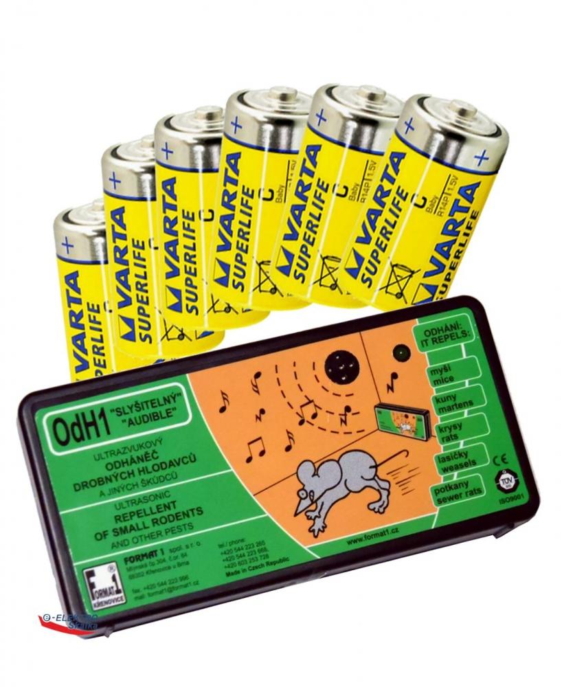 Plašič hlodavců, myší Format1 OdH1S Slyšitelný a sada baterií
