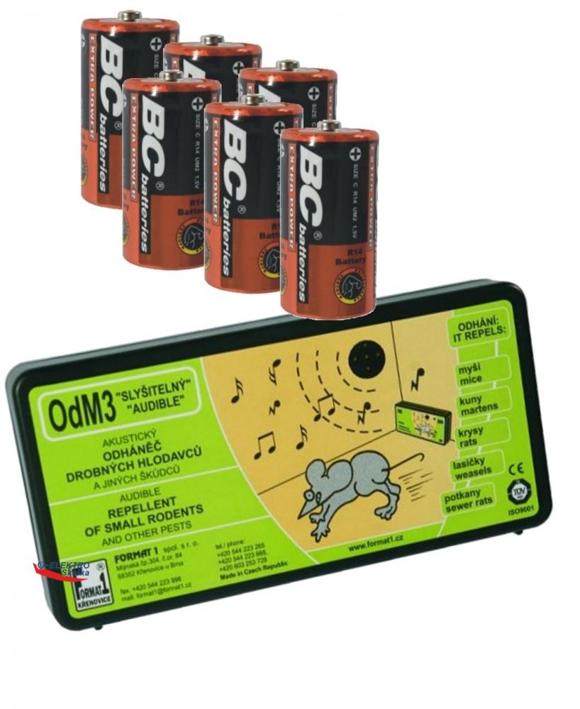 Odpuzovač hlodavců Format1 OdM3 Přerušovaný tón a baterie
