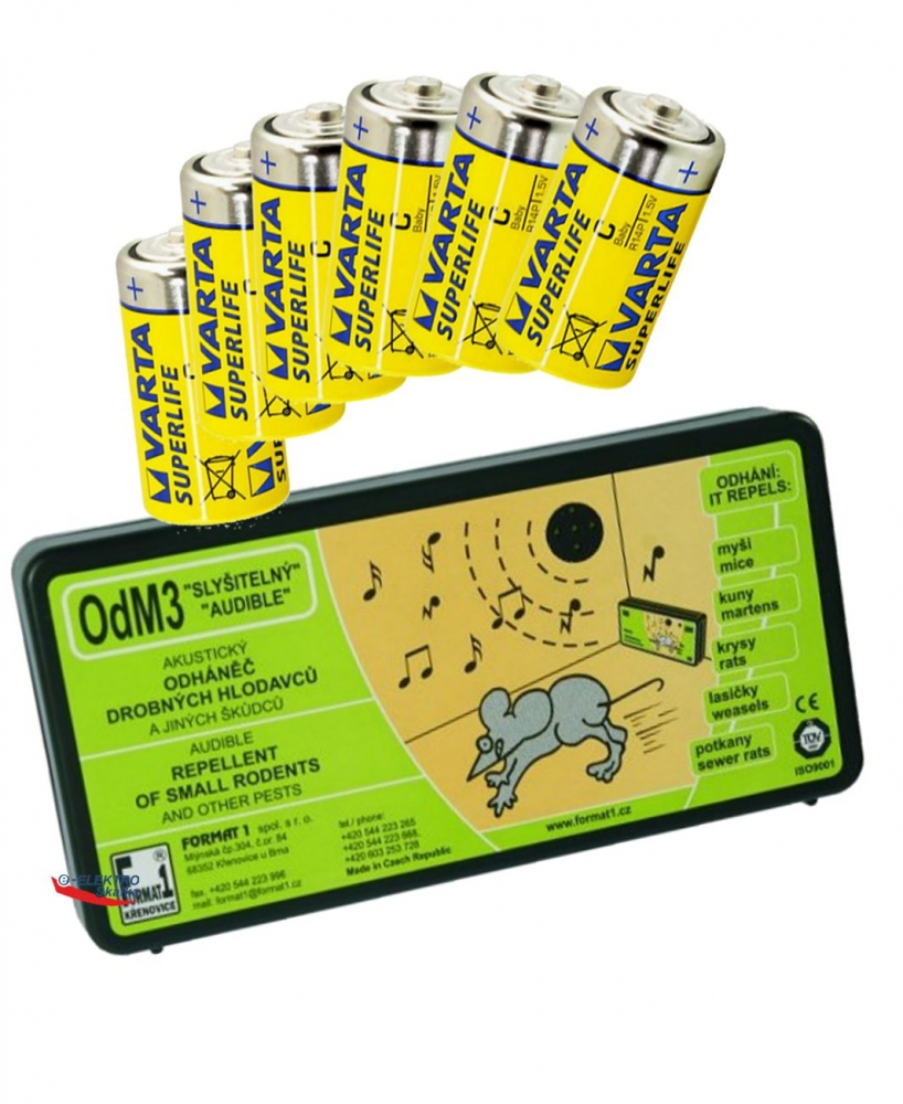 Plašič hlodavců, myší Format1 OdM3 Přerušovaný tón a sada baterií