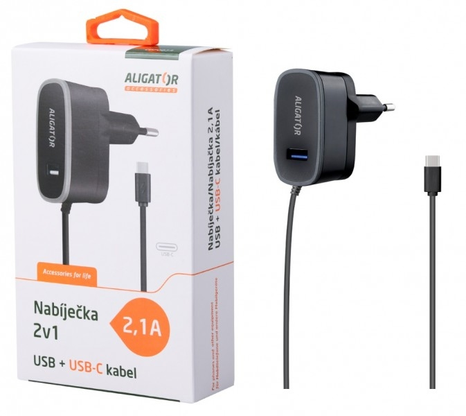 Nabíječka síťová ALIGATOR 5V/2,1A USB-C a 1x USB výstup, černá