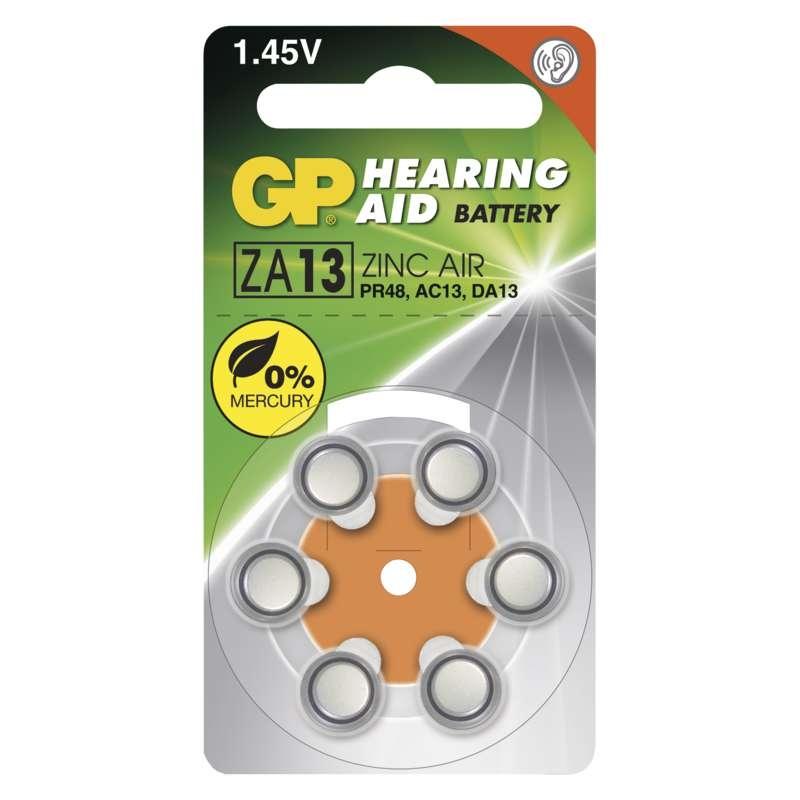 Baterie knoflíkové ZA13 1,45V GP 6ks baterií do naslouchadel
