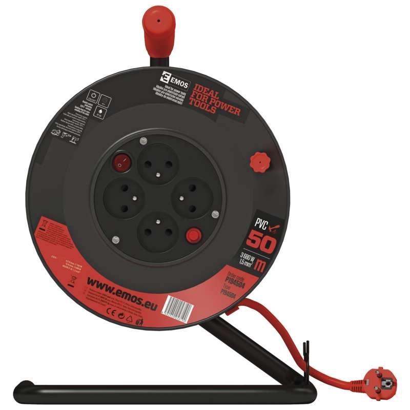 Prodlužovací kabel 50m/4 zásuvky, 3x1,5mm2 na bubnu