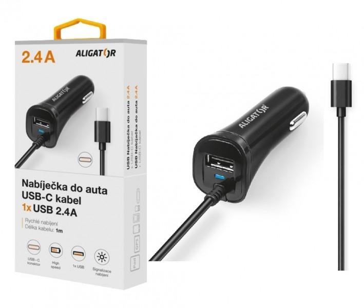 Nabíječka do auta ALIGATOR USB-C s USB výstupem, 2.4A, Turbo charge, černá