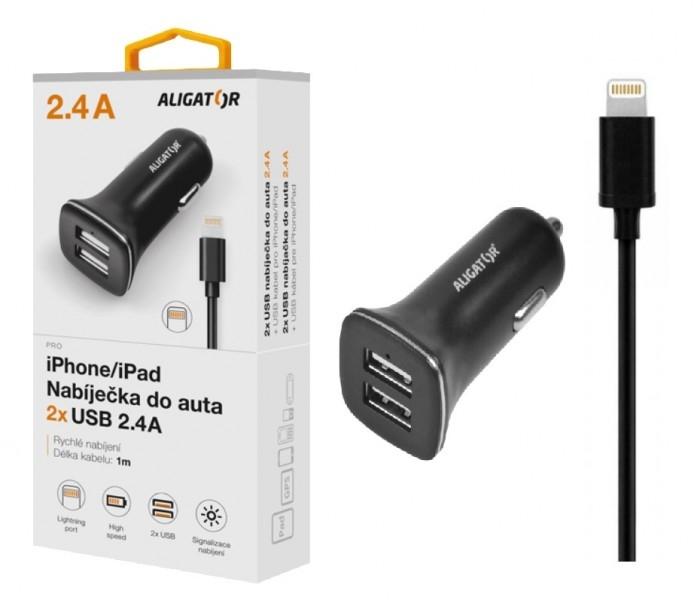 Nabíječka do auta ALIGATOR Pro iPhone 5/6/7/8 s 2xUSB výstupem, 2.4A, Turbo charge, černá